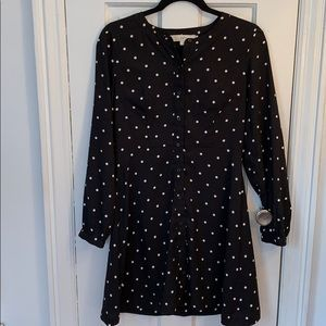 Ann Taylor Loft Long Sleeve Polka Dot Dress